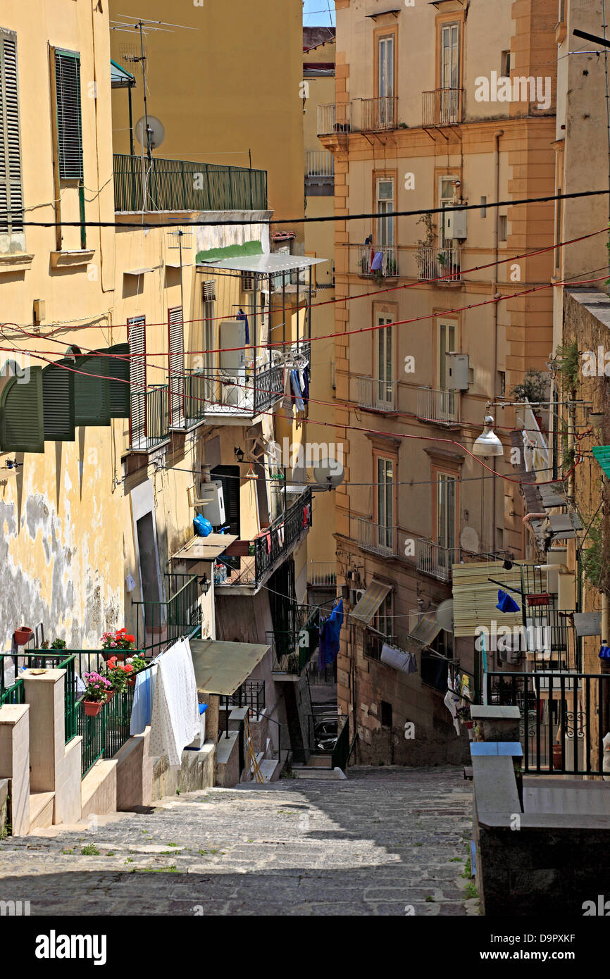 Narrow street in the old town of Naples, Campania, Italy - Stock Image