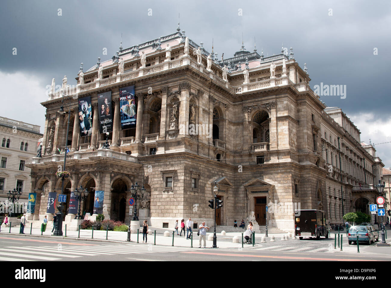 The Hungarian State Opera House - Magyar Állami Operaház - Andrássy Street Budapest Hungary - Stock Image