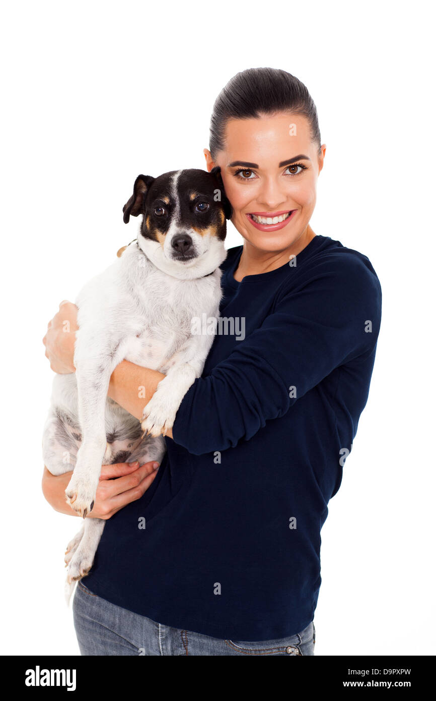 half length of cheerful woman hugging her dog - Stock Image