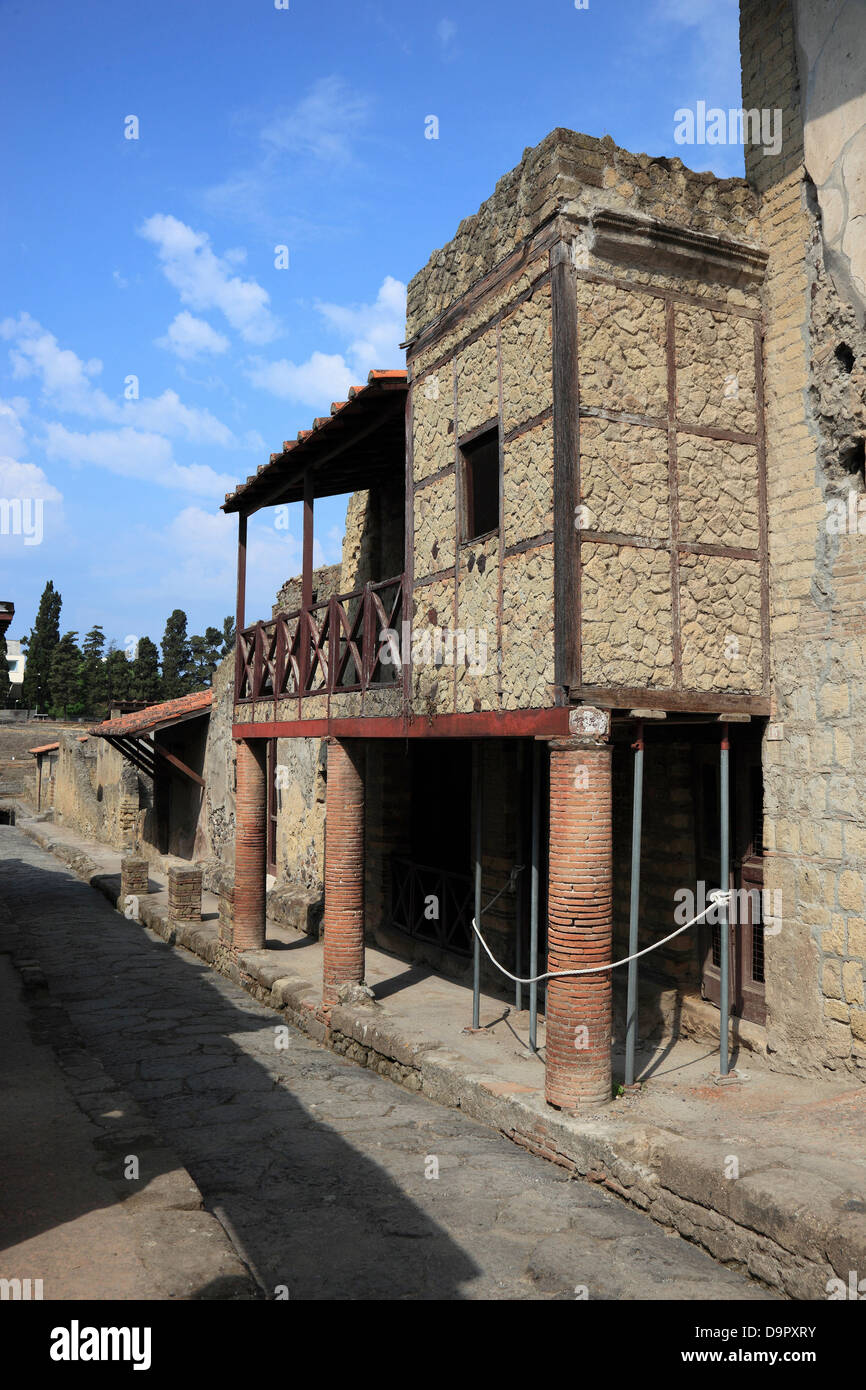 The half-timbered house in the ruins of Herculaneum, Campania, Italy - Stock Image