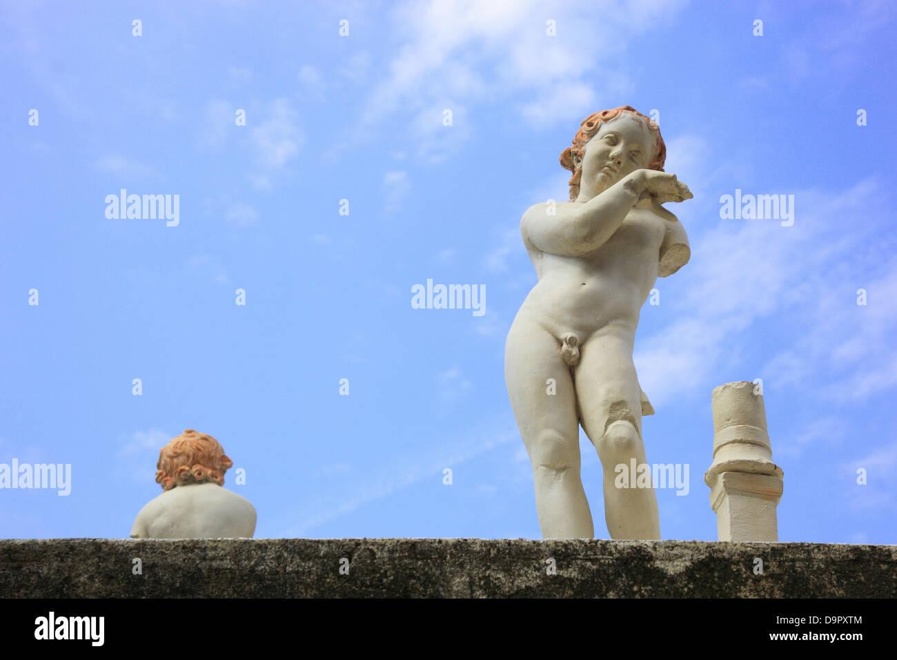 Angel figure on the terrace Nonio Balbo, ruined city of Herculaneum, Campania, Italy - Stock Image