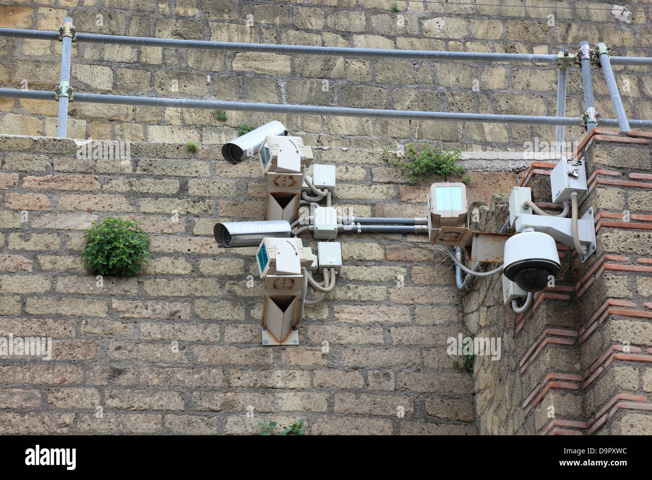 Surveillance cameras in the ruins of Herculaneum, Campania, Italy - Stock Image
