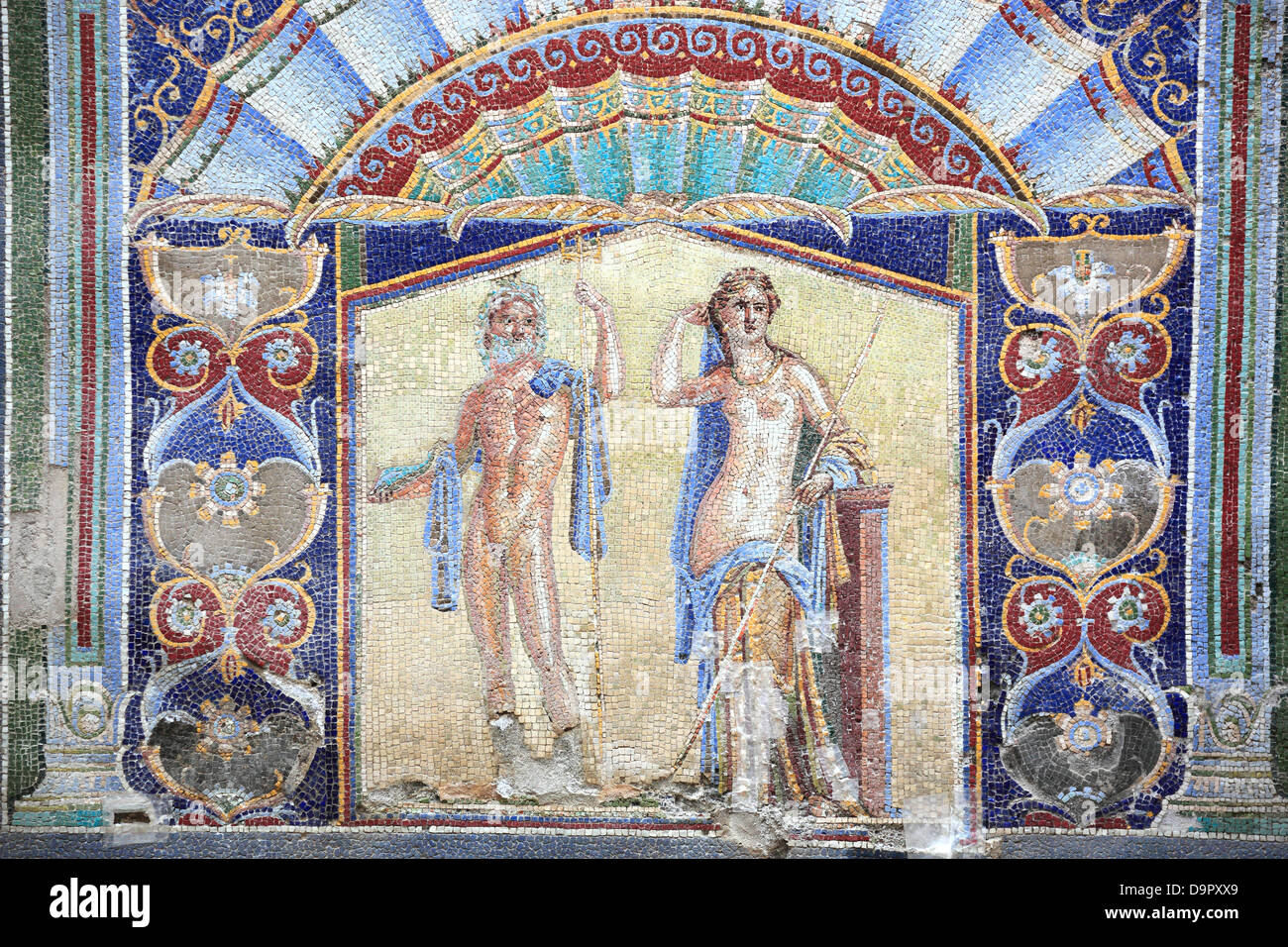 Neptune and Amphitrite, wall mosaic in the house No. 22 in the ruins of Herculaneum, Campania, Italy - Stock Image