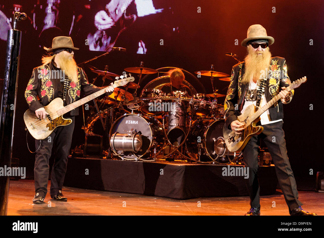 London, UK, 24/06/2013 : ZZ Top plays Hammersmith Apollo. The band consists of guitarist and lead vocalist Billy - Stock Image