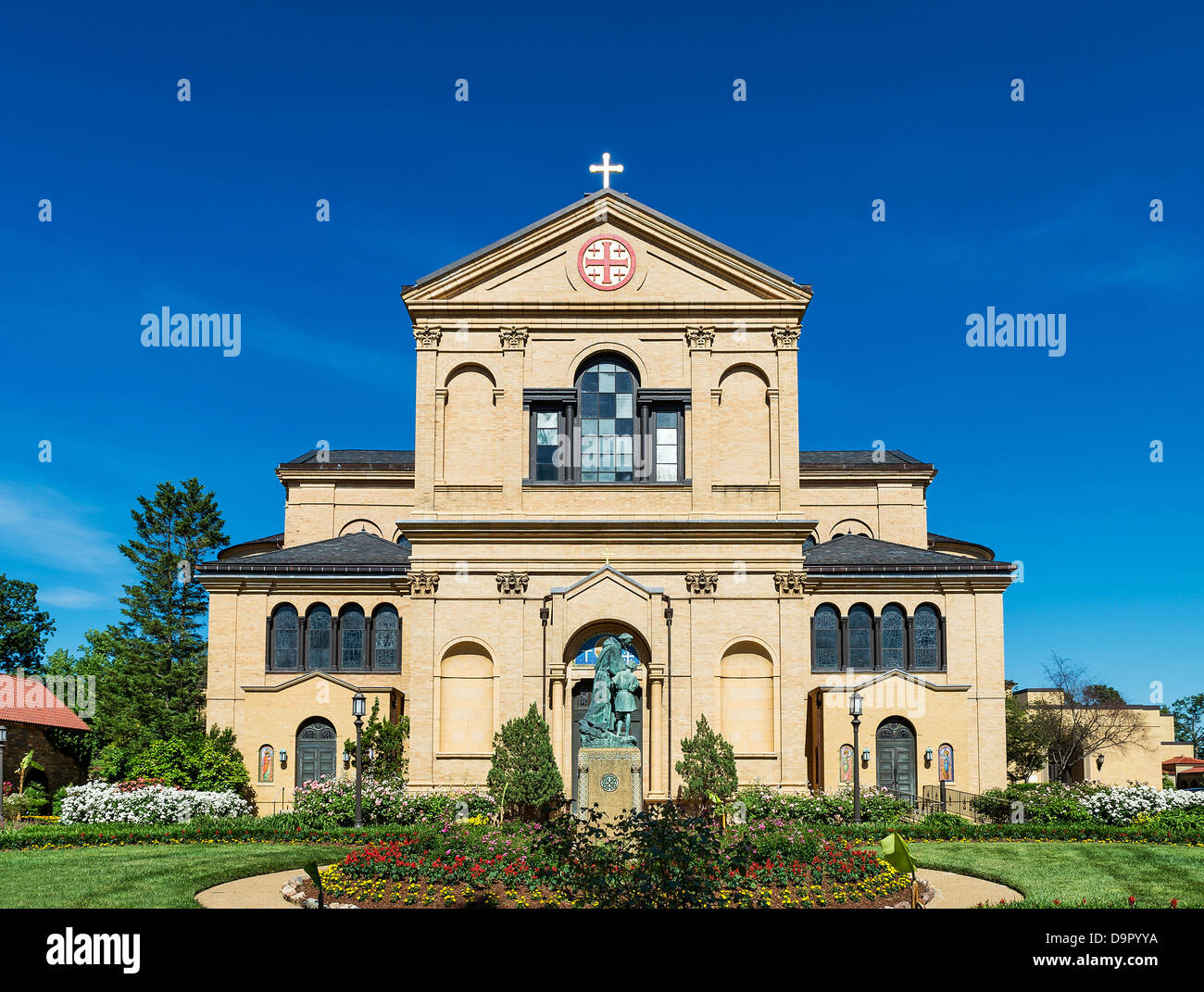 Exterior, The Memorial Church of the Holy Sepulchre, Franciscan Monastery of the Holy Land in America, Washington - Stock Image