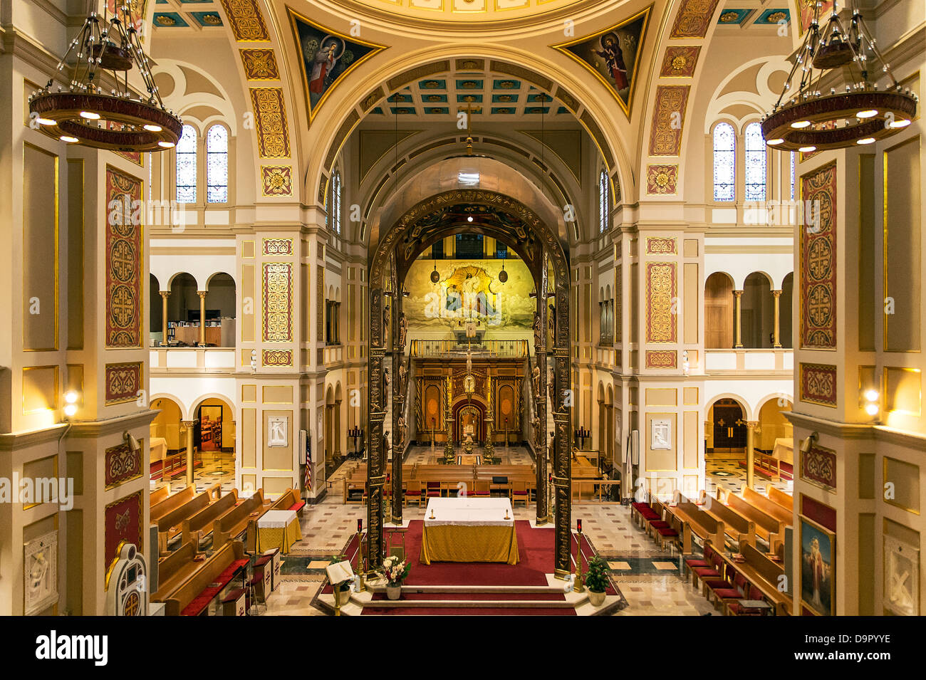 Interior, The Memorial Church of the Holy Sepulchre, Franciscan Monastery of the Holy Land in America, Washington - Stock Image