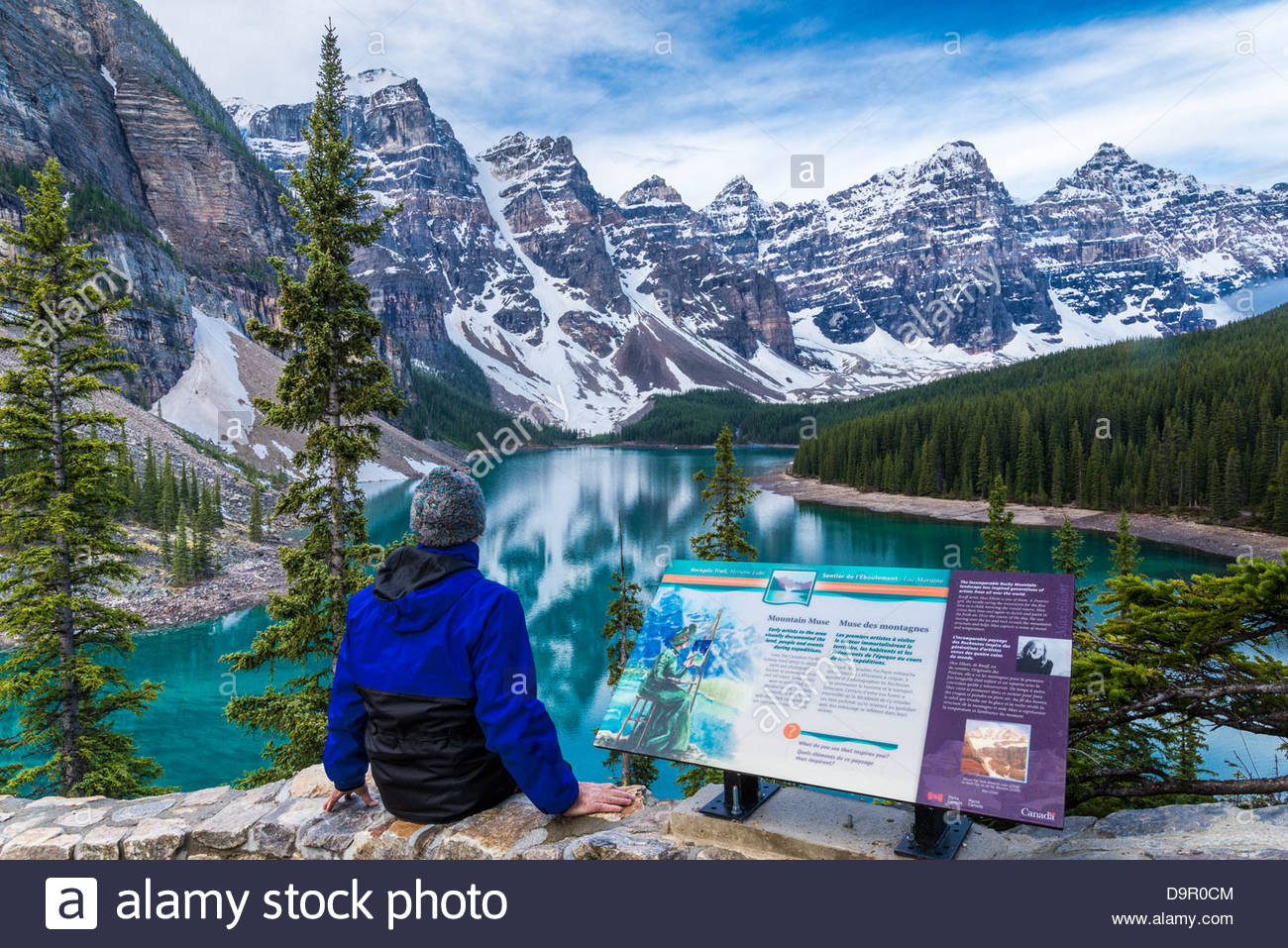 Man at Moraine Lake viewpoint, Banff National Park, Alberta, Canada (self-released) - Stock Image