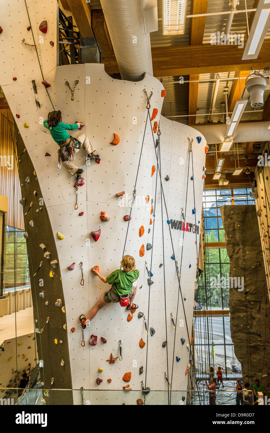 Climbing wall, Elevation Place Recreation Centre, Canmore, Alberta, Canada - Stock Image