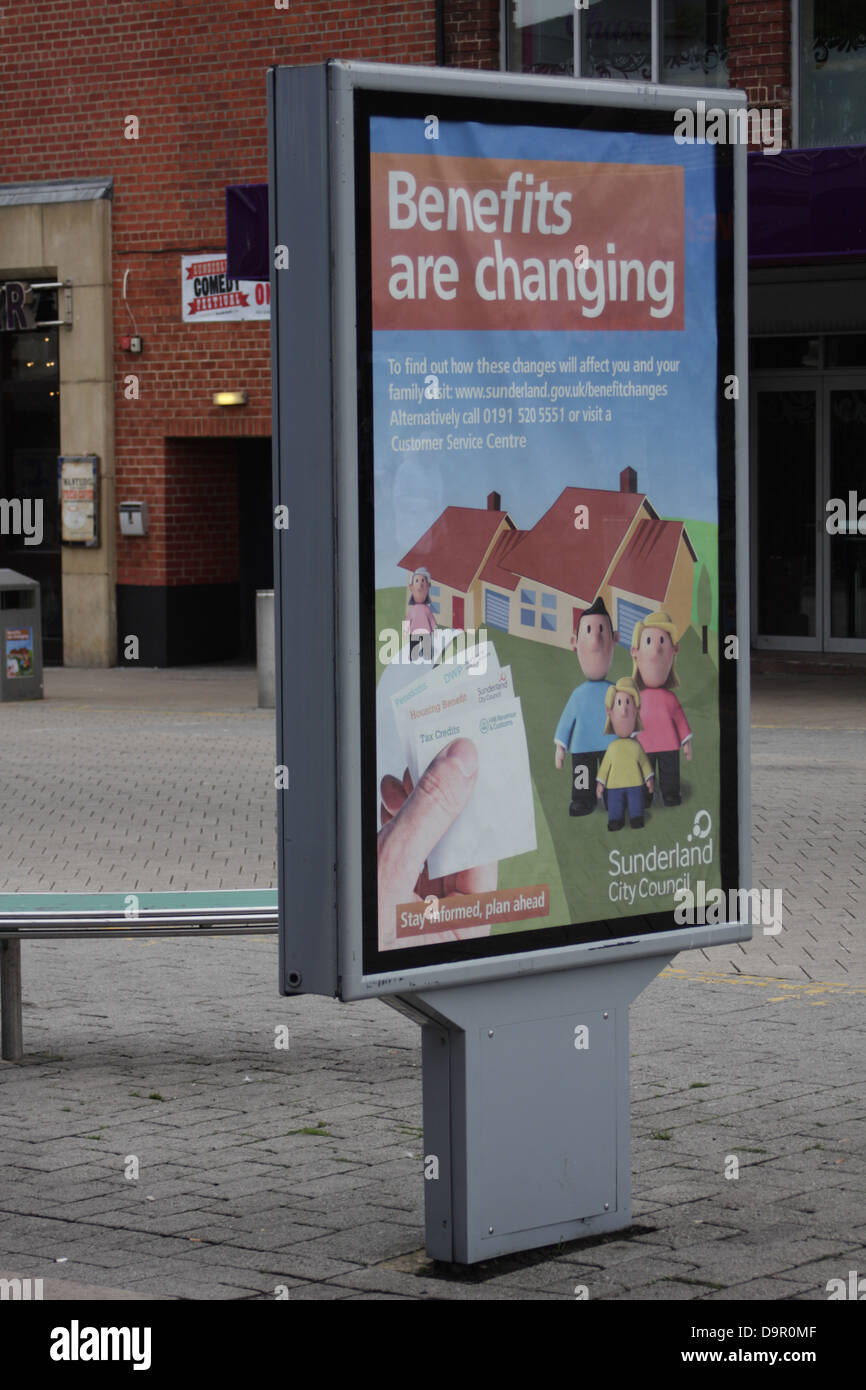 advertising billboard - benefits are changing, warning about changes to benefits due to welfare reforms and universal Stock Photo