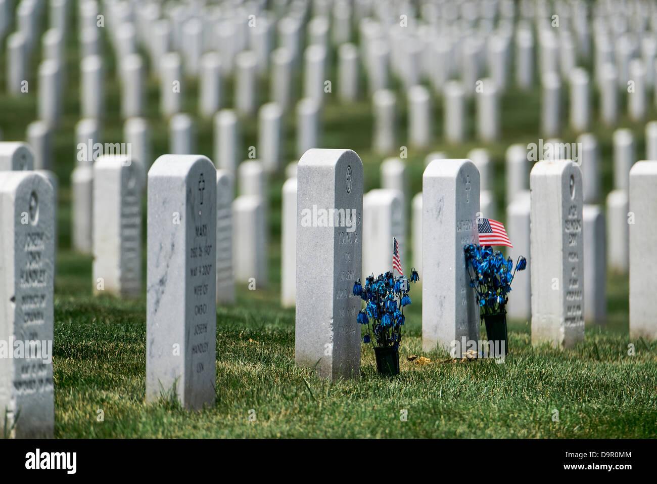 Soldier graves, Arlington National Cemetery, Virginia, USA - Stock Image