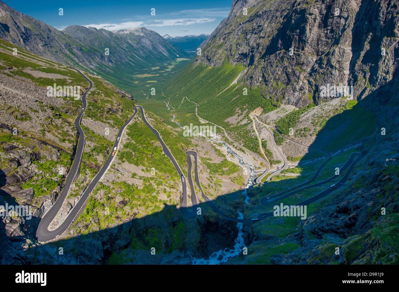 Trollstigen, Troll's Footpath, serpentine mountain road in Norway - Stock Image