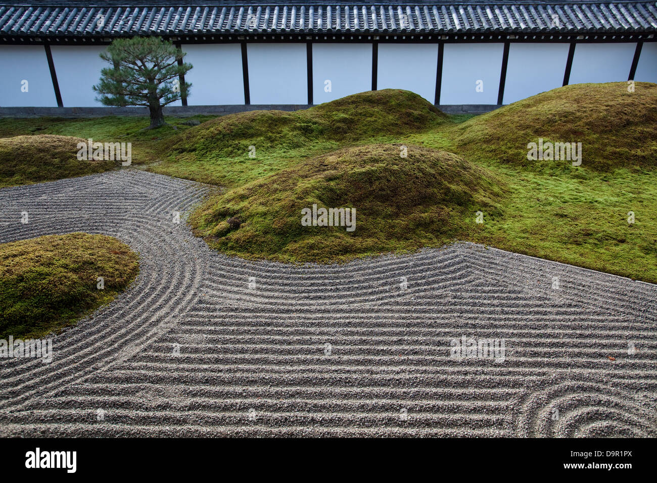 Tofukuji Temple southern garden is composed of rock compositions symbolizing Elysian islands . - Stock Image