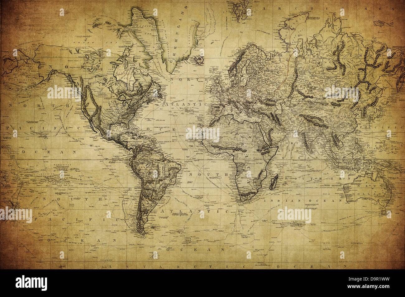 vintage map of the world 1814 - Stock Image
