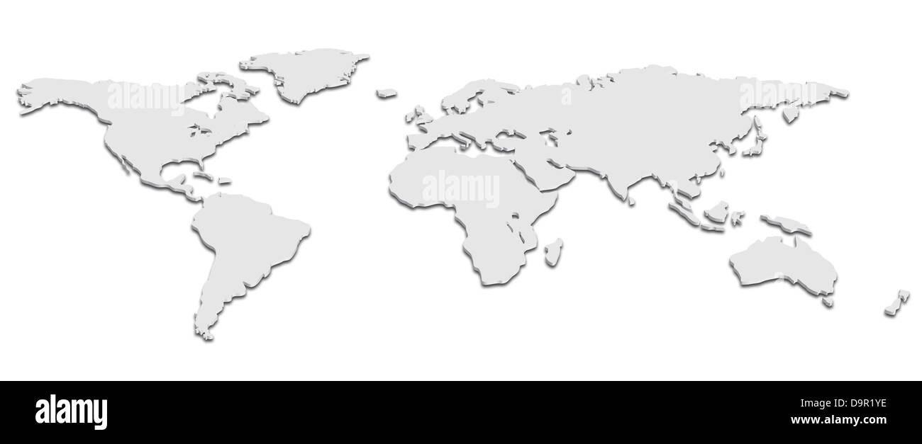 A world map in Black and White 3D - Stock Image