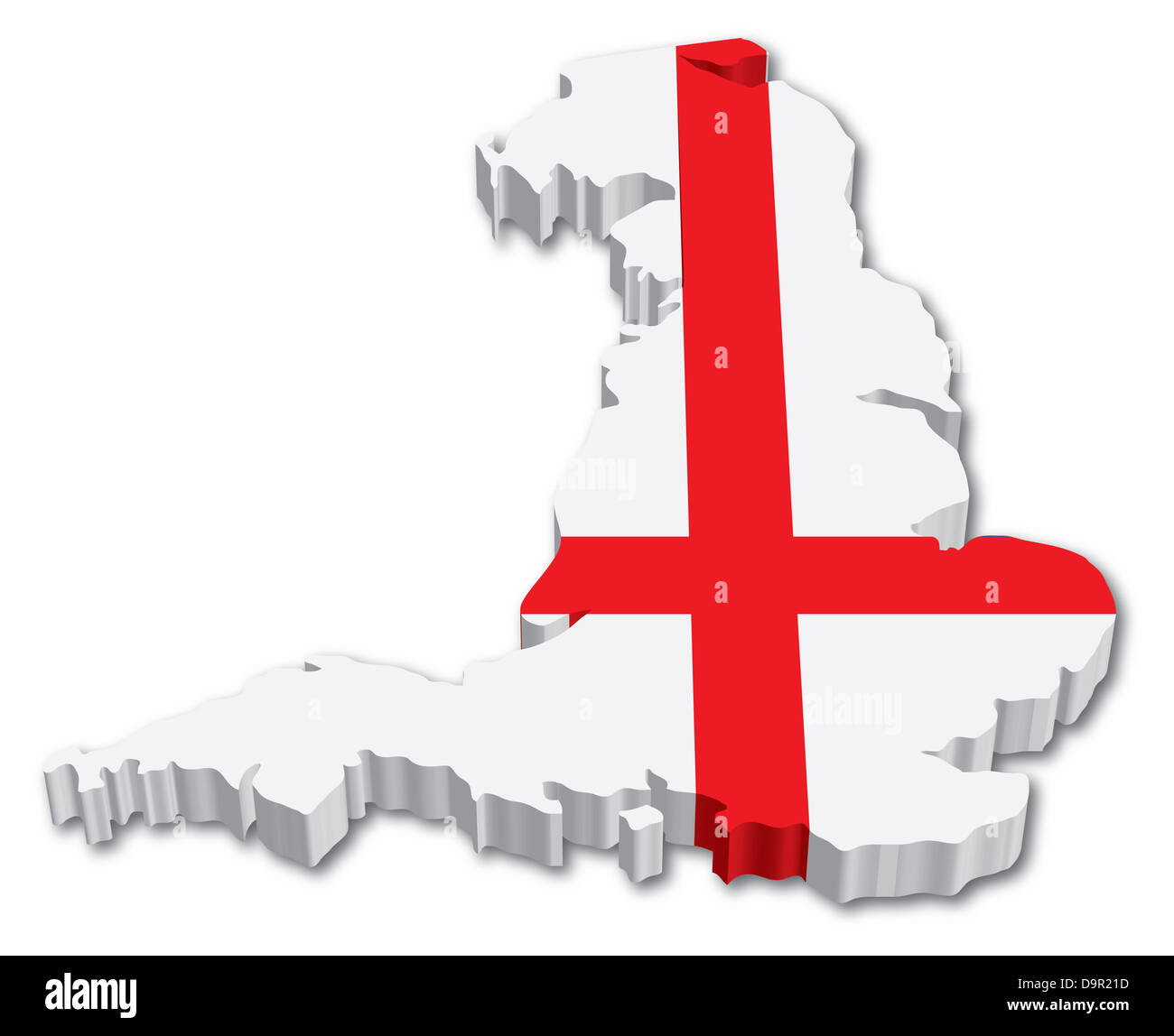 3d Map Of England.3d England Map With Flag Illustration On White Background Stock