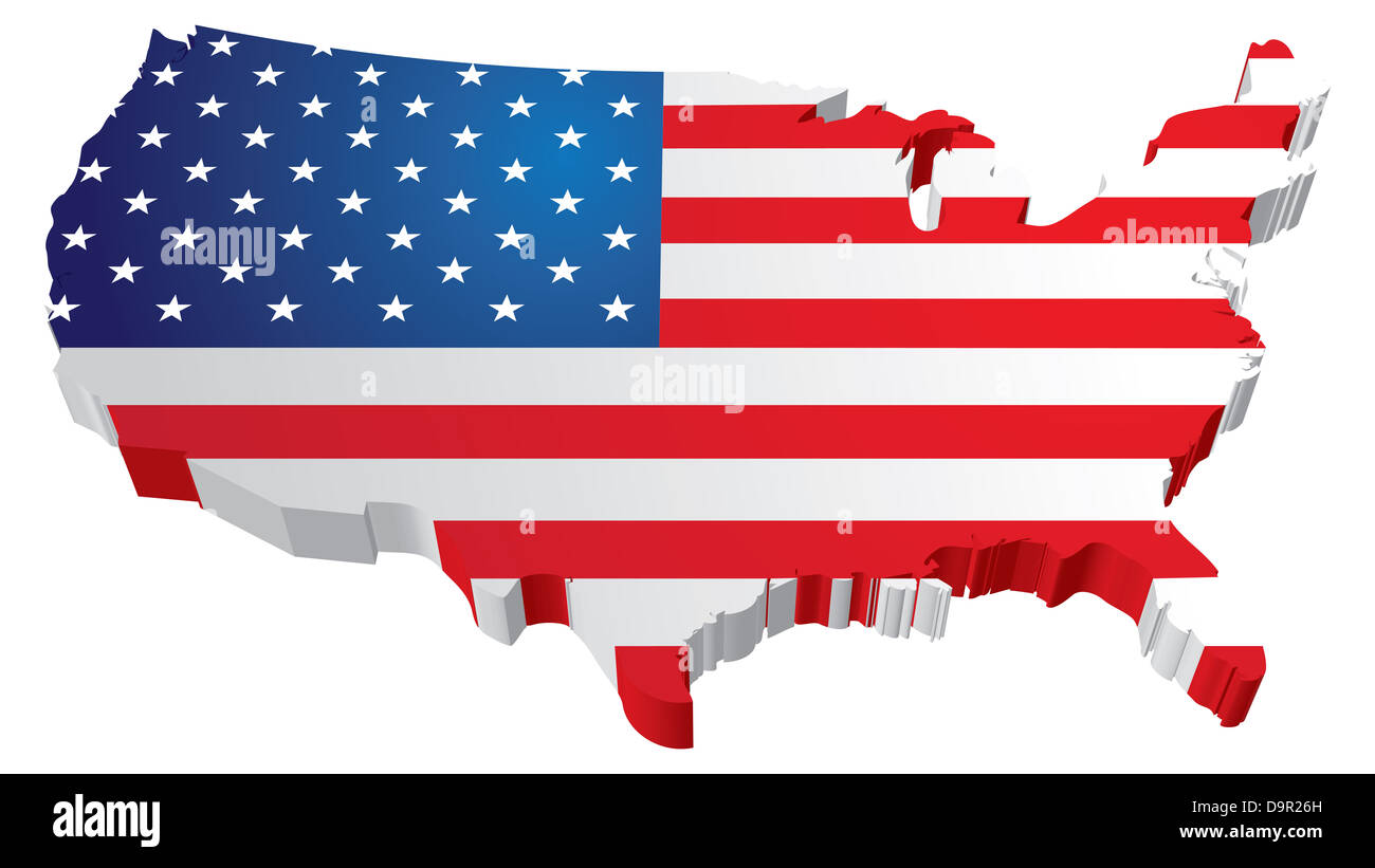 A 3d Us Map With Flag Of The United States Of America Stock Photo
