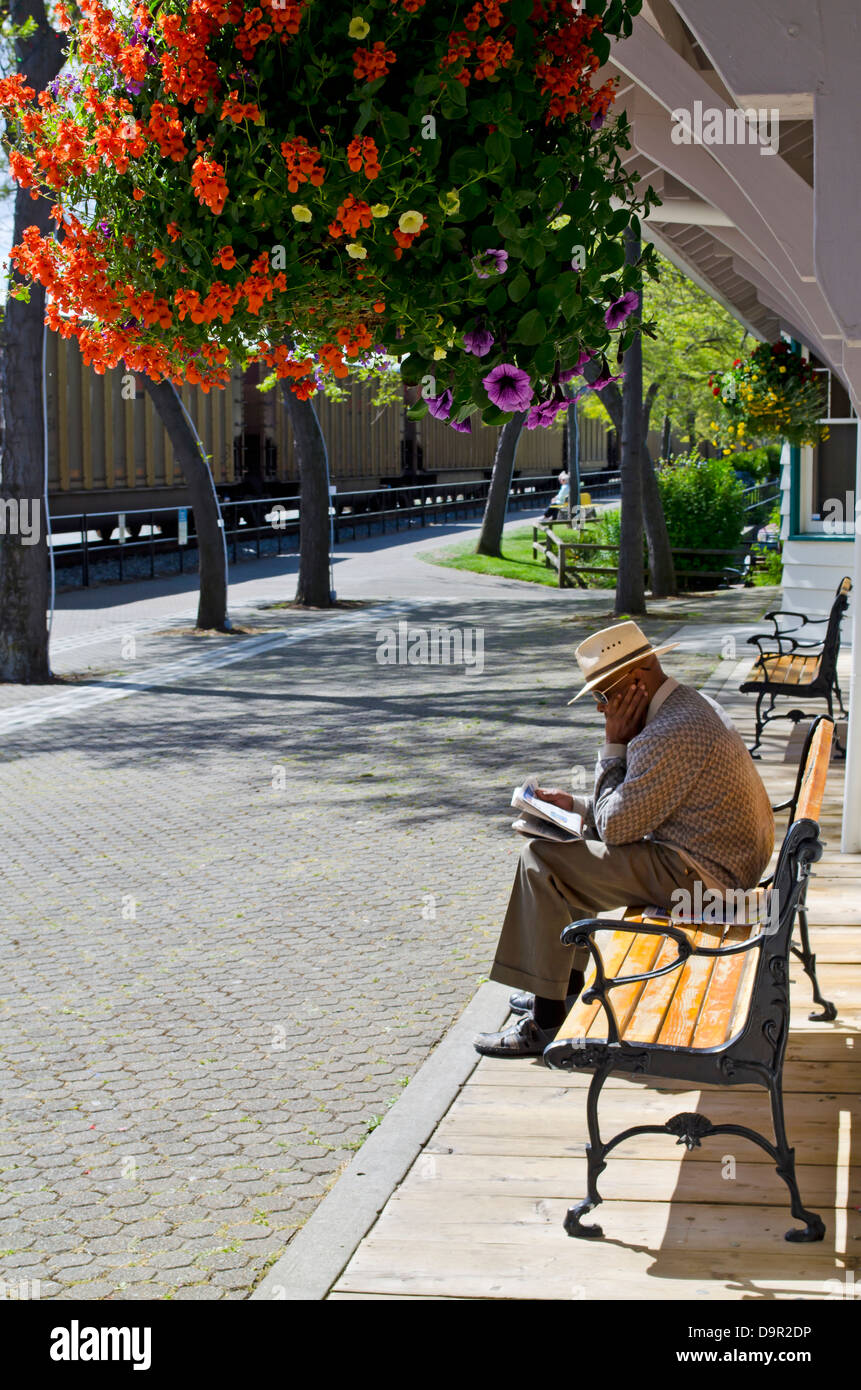 Man on bench with hat reading paper as freight train goes by.  Colourful flowers hang above. In White Rock, Canada - Stock Image