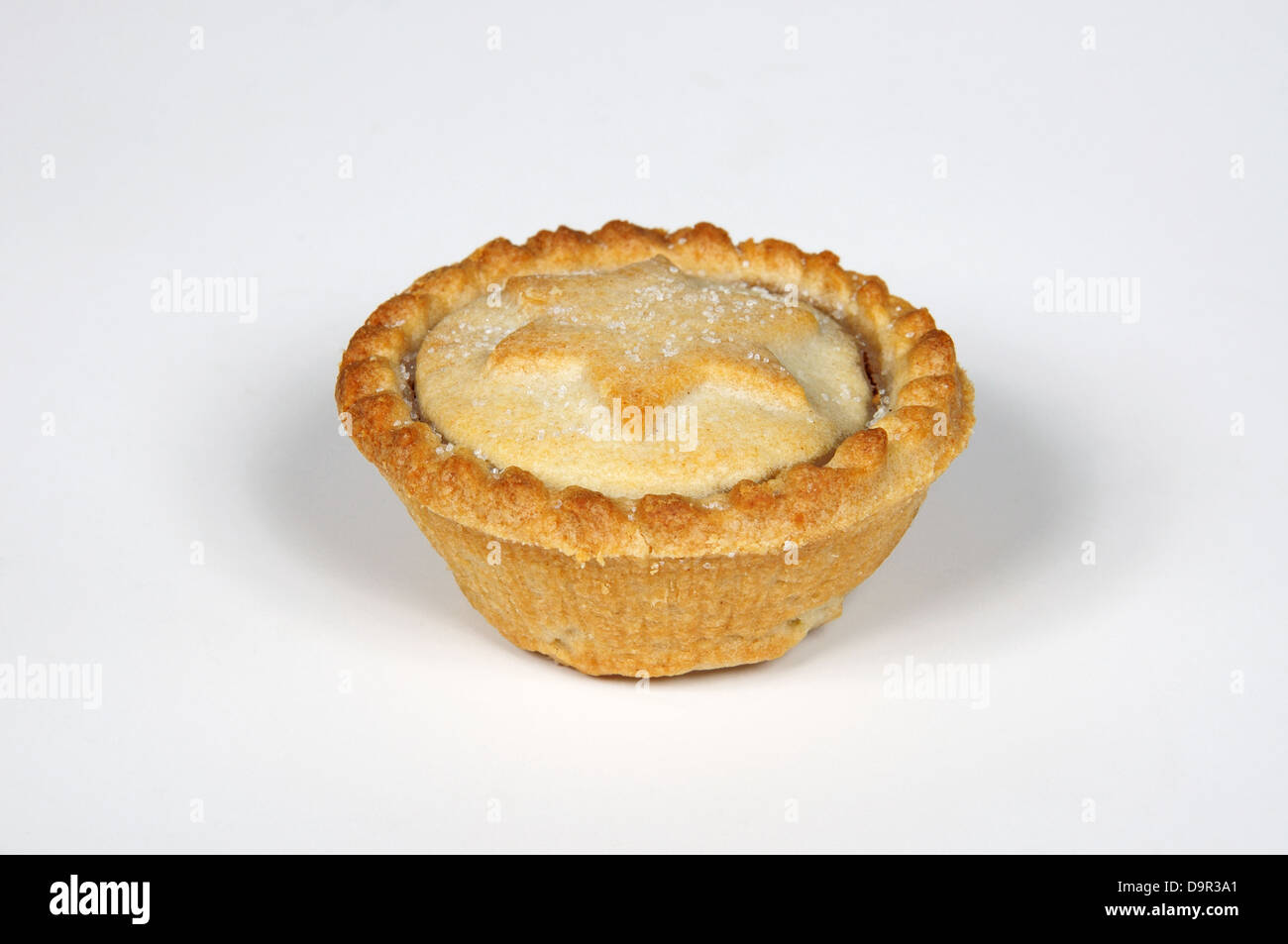 One mince pie against a light grey background. - Stock Image