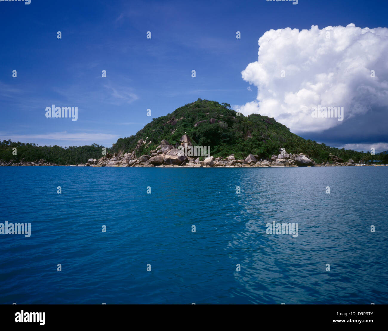 Thailand, Koh Samui, view from a boat, cloud is growing, weather is changing - Stock Image