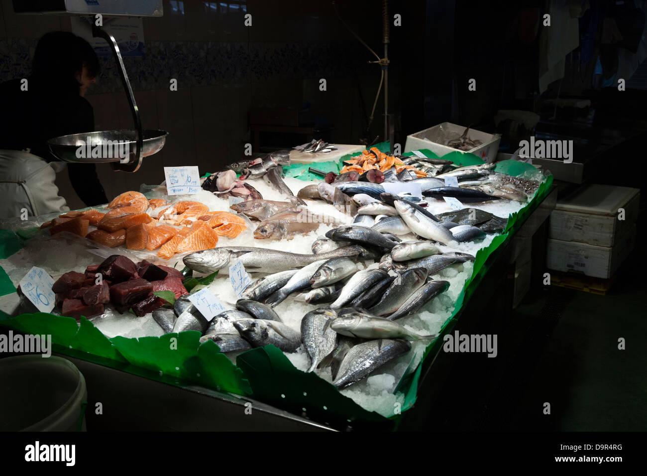 Wet fish counter in La Boqueria Market Barcelona. - Stock Image