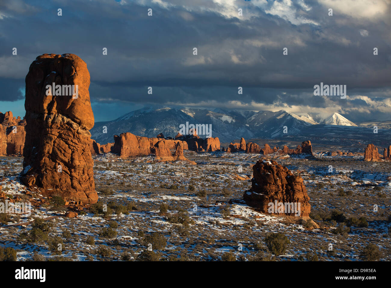 Windows Section with the La Sal Mountains beyond, Arches National Park, Utah, USA - Stock Image
