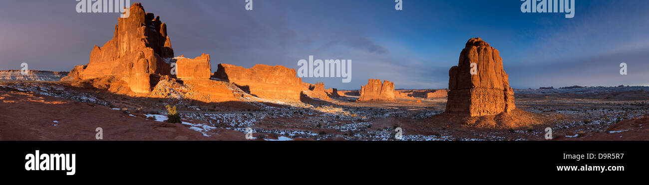 Courthouse Towers, Arches National Park, Utah, USA - Stock Image