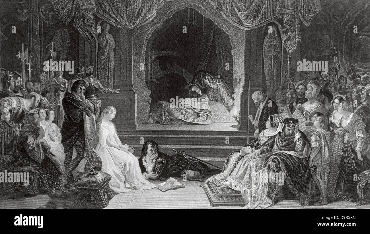 William Shakespeare (1564-1616). English writer. Hamlet and the comedians. Engraving, 19th century. - Stock Image