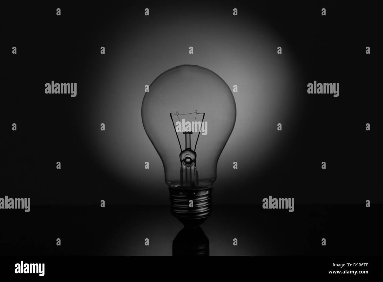 Big light bulb standing on reflective surface Stock Photo