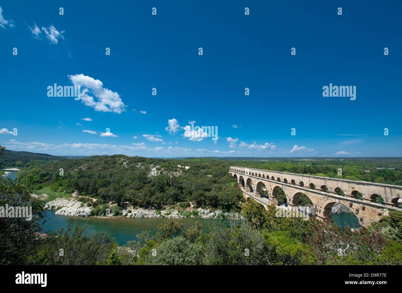 UNESCO world heritage site Pont du Gard, a Roman aqueduct passing the Gard river in the Gard near Nîmes, southern - Stock Image