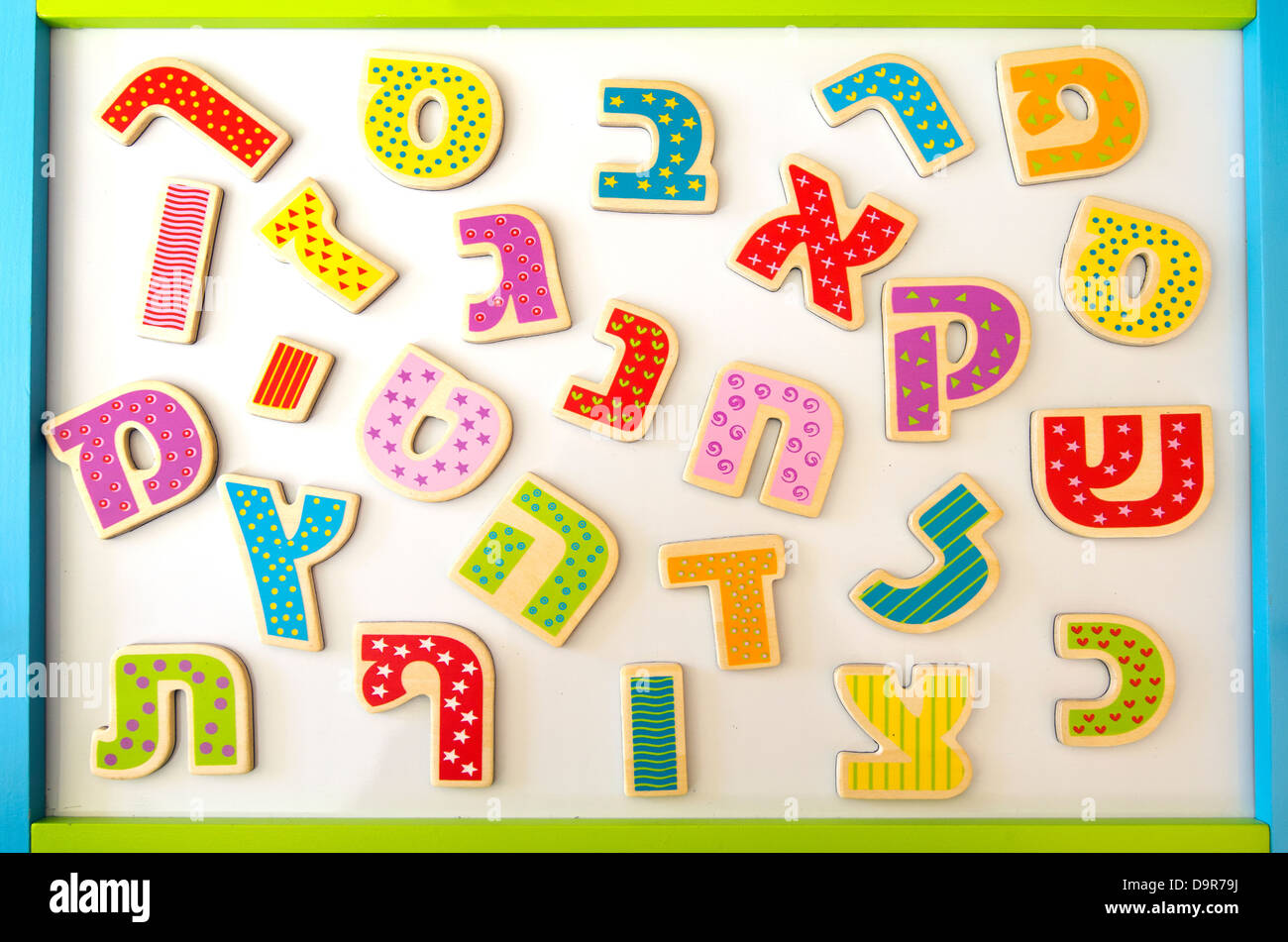 Hebrew alphabet letters and characters background - Stock Image