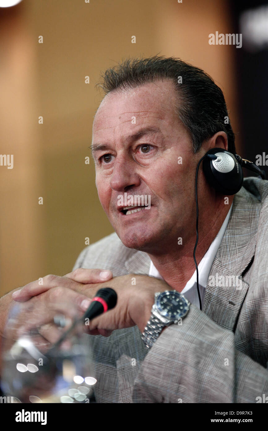 Thessaloniki, Greece. June 25, 2013.PAOK FC head coach Huub Stevens during Press Conference. PAOK FC introduce Huub - Stock Image