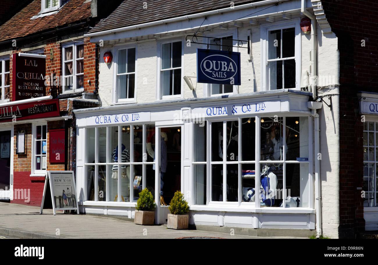Quba Sails Clothing Shop, Lymington, Hampshire, England, UK, GB. - Stock Image