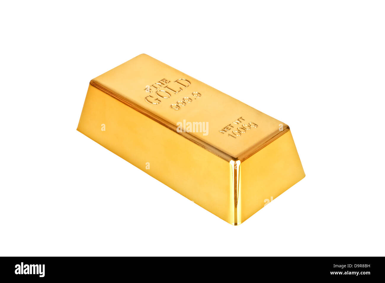Gold bar on a white background - Stock Image