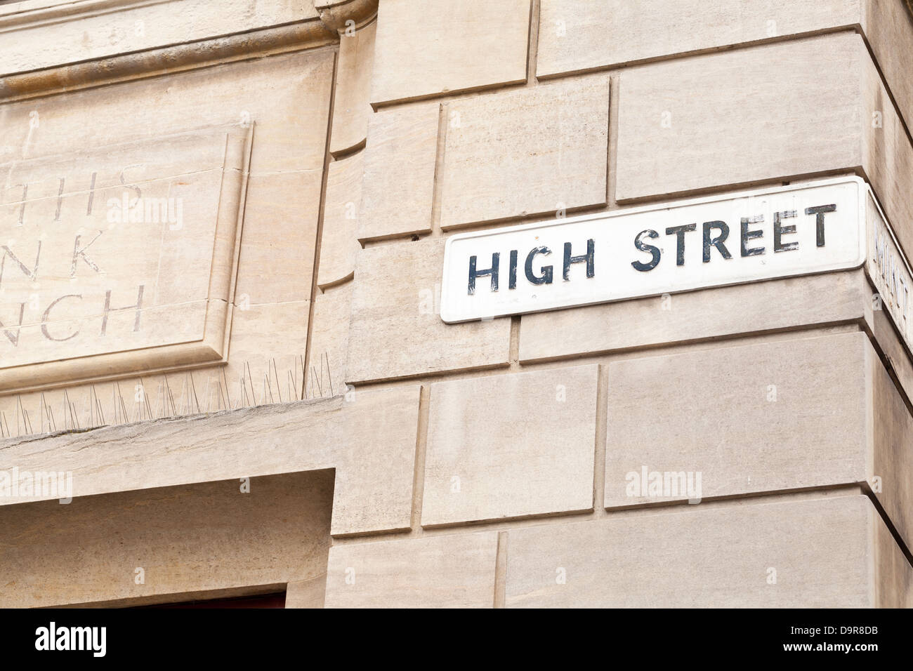 Lincoln - High Street street sign; Lincoln, Lincolnshire, UK, Europe - Stock Image