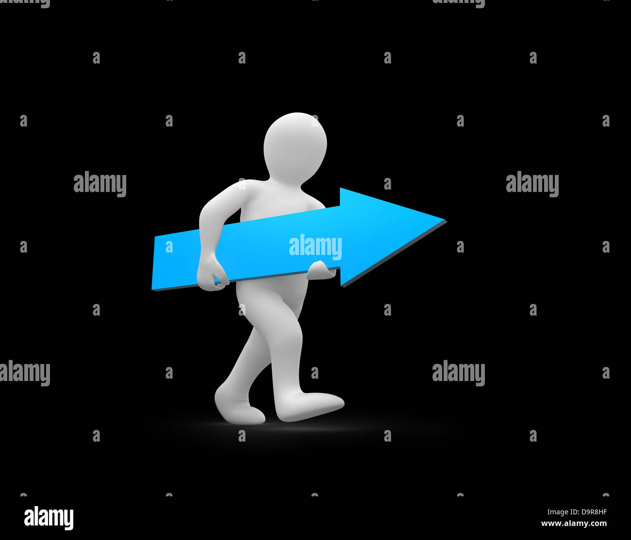 Human representation walking while holding blue arrow sign - Stock Image