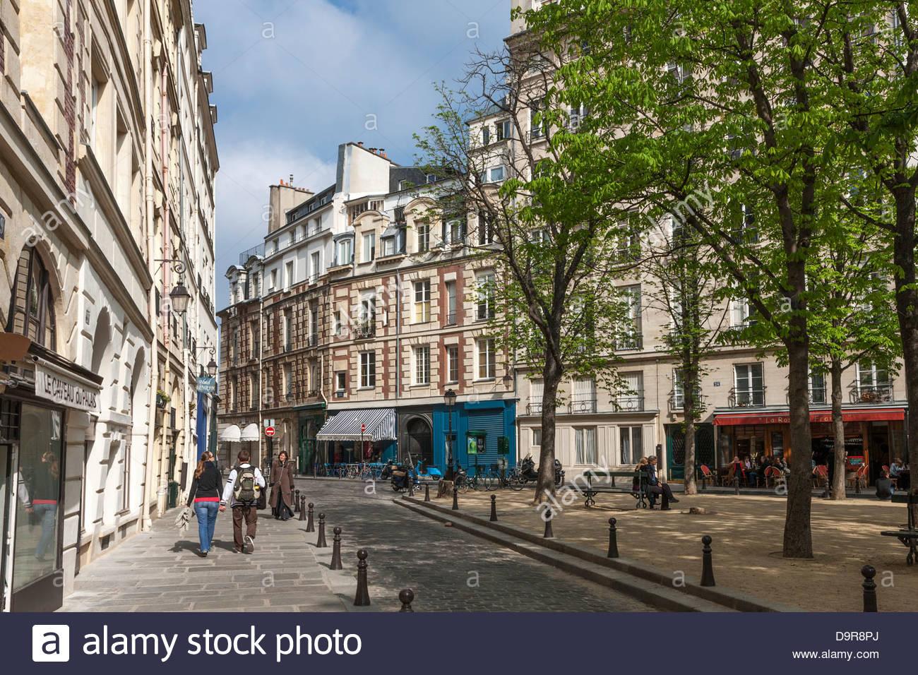 Île de la Cité,place Dauphine,paris,france - Stock Image