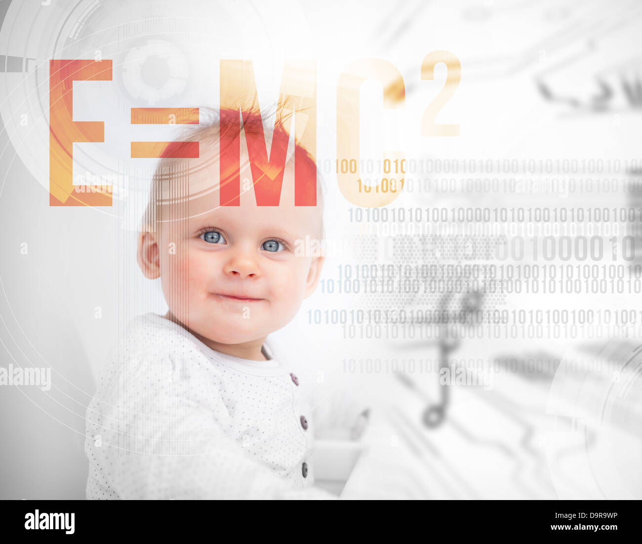 Portrait of a baby next to formula - Stock Image