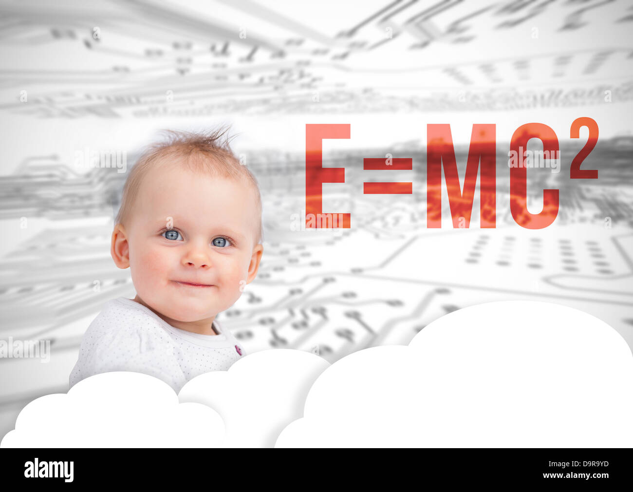 Portrait of a cute baby next to formula - Stock Image