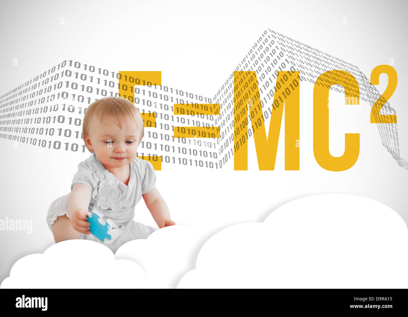 Baby sitting in cloud with jigsaw piece and formula - Stock Image