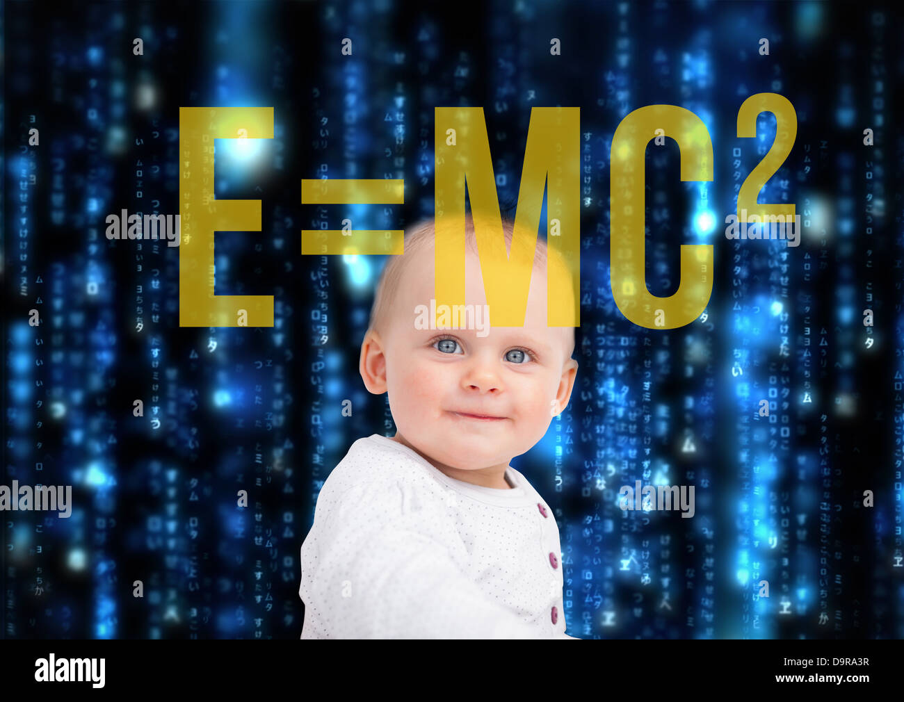 Portrait of baby with physic formula - Stock Image