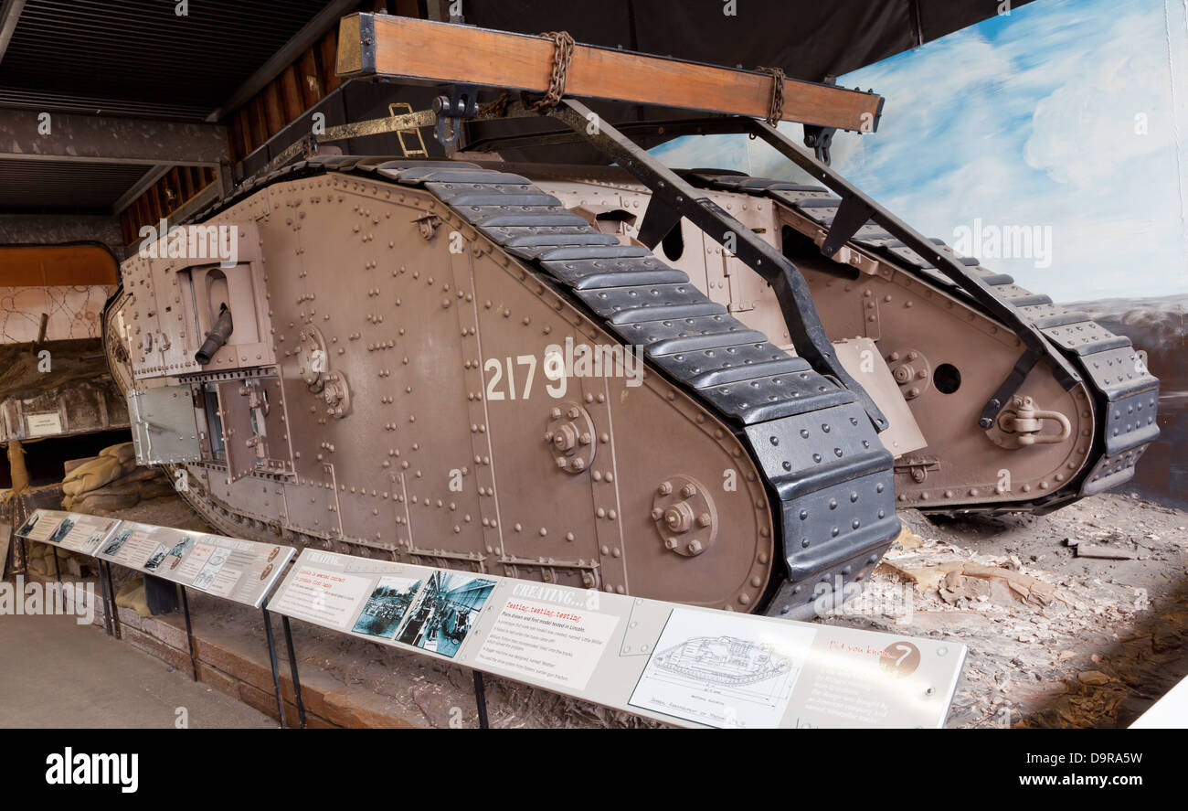 Lincoln - WW I tank at the Museum of Lincolnshire Life; Lincoln, Lincolnshire, UK, Europe - Stock Image