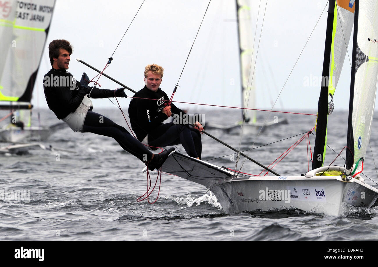 German yachtsmen Justus Schmidt (R) and Max Boehme compete in a regatta of Olympic 49er dinghies on the Baltic Sea - Stock Image