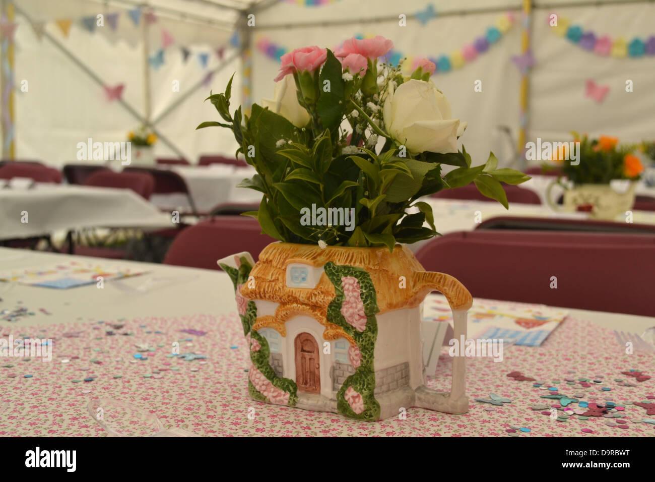 Vintage garden party decorations, Reading, Berkshire, England Stock ...