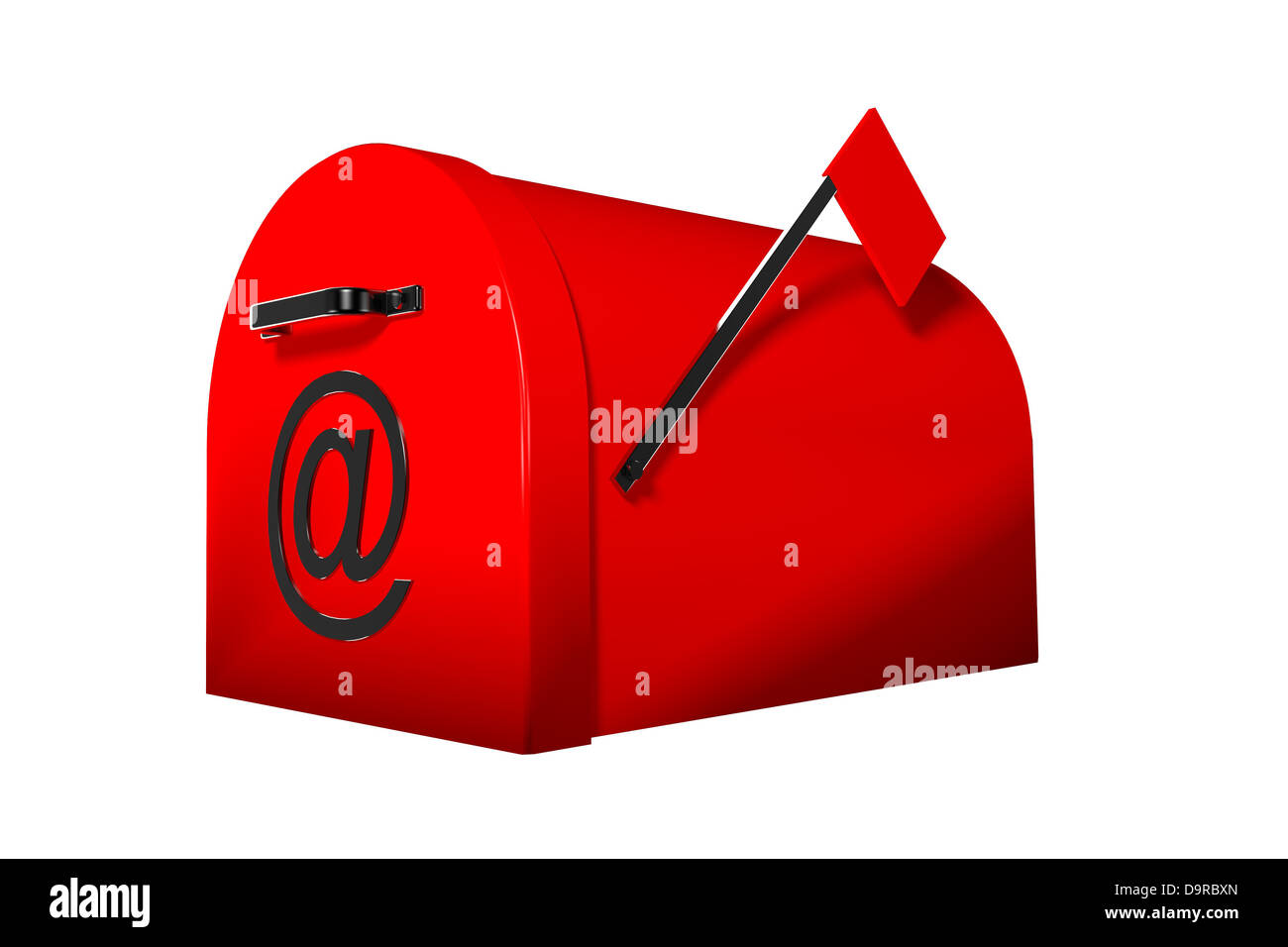 Isolated red letterbox with @ symbol on front door - Stock Image