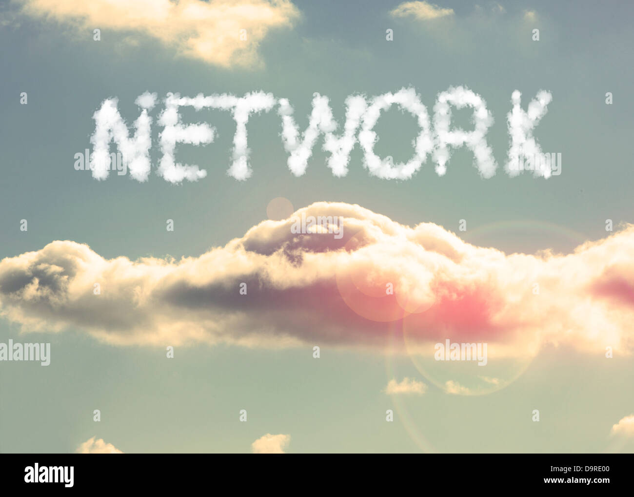 Clouds spelling out network - Stock Image