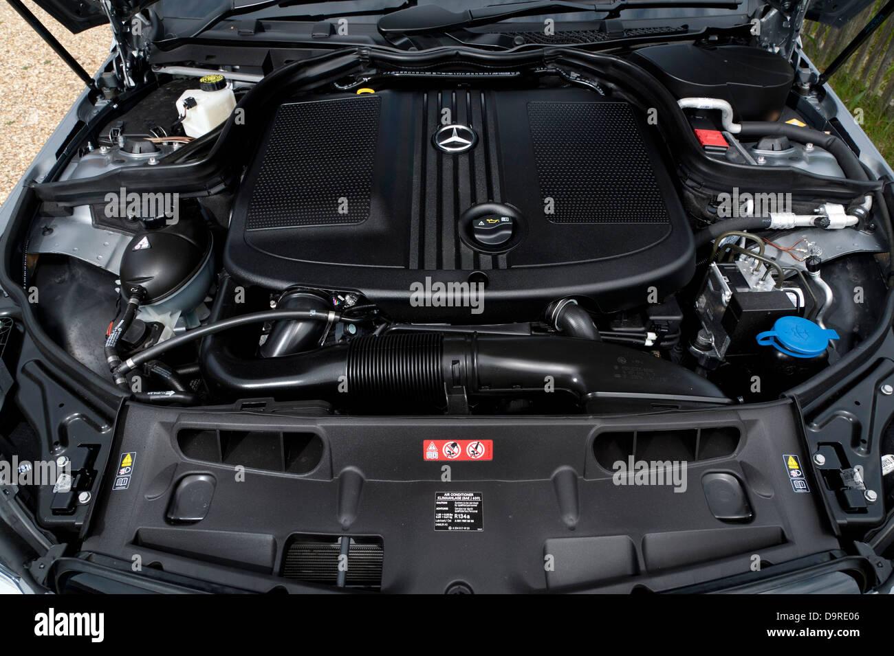 Mercedes Benz C250 AMG Sport engine 2013 - Stock Image