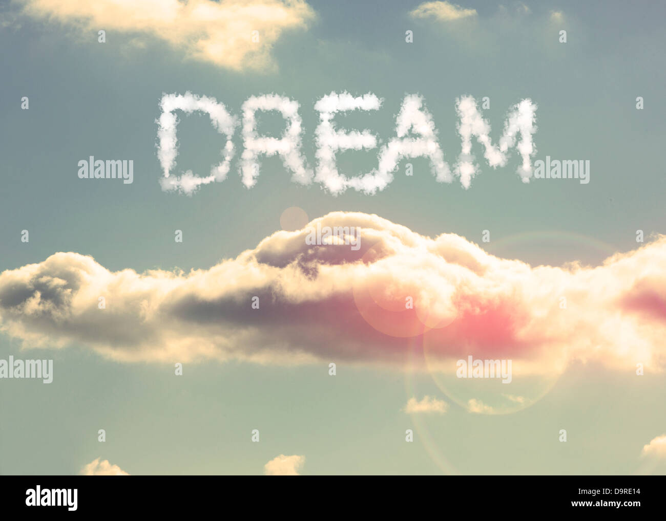 Clouds spelling out dream - Stock Image
