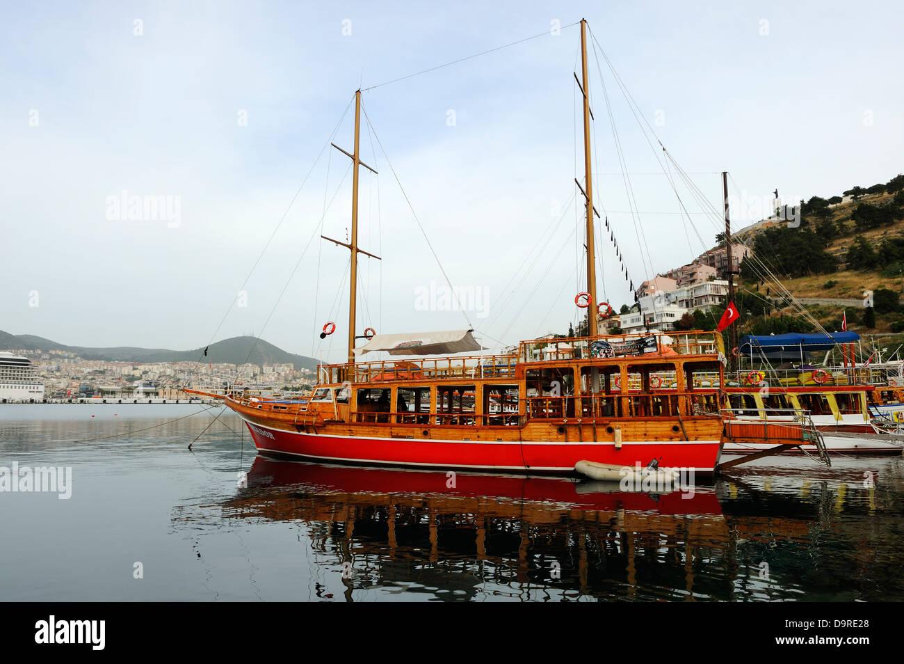 Charter boats at Kusadasi, Aegean Coast, Turkey - Stock Image