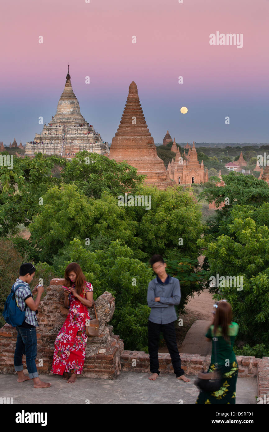the moon rising over the Temples of Bagan, Myanmar (Burma) - Stock Image
