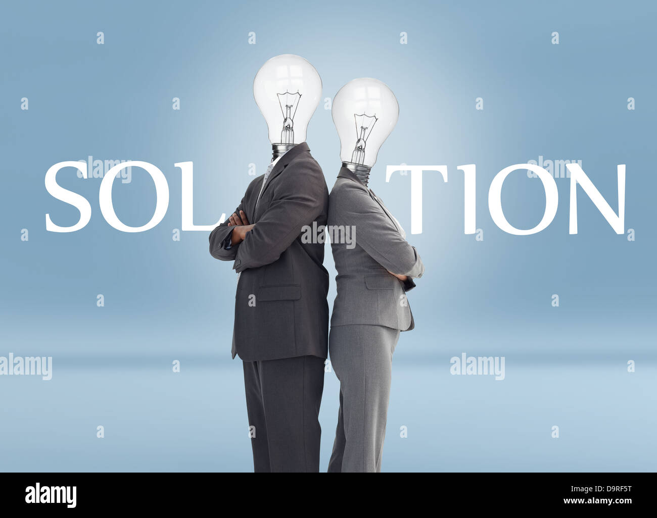 Business people with light bulbs for heads and solution text - Stock Image